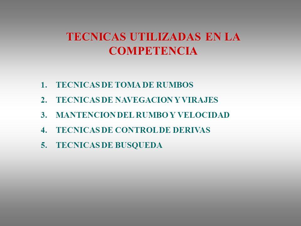 TECNICAS UTILIZADAS EN LA COMPETENCIA 1.TECNICAS DE TOMA DE RUMBOS 2.TECNICAS DE NAVEGACION Y VIRAJES 3.MANTENCION DEL RUMBO Y VELOCIDAD 4.TECNICAS DE CONTROL DE DERIVAS 5.TECNICAS DE BUSQUEDA