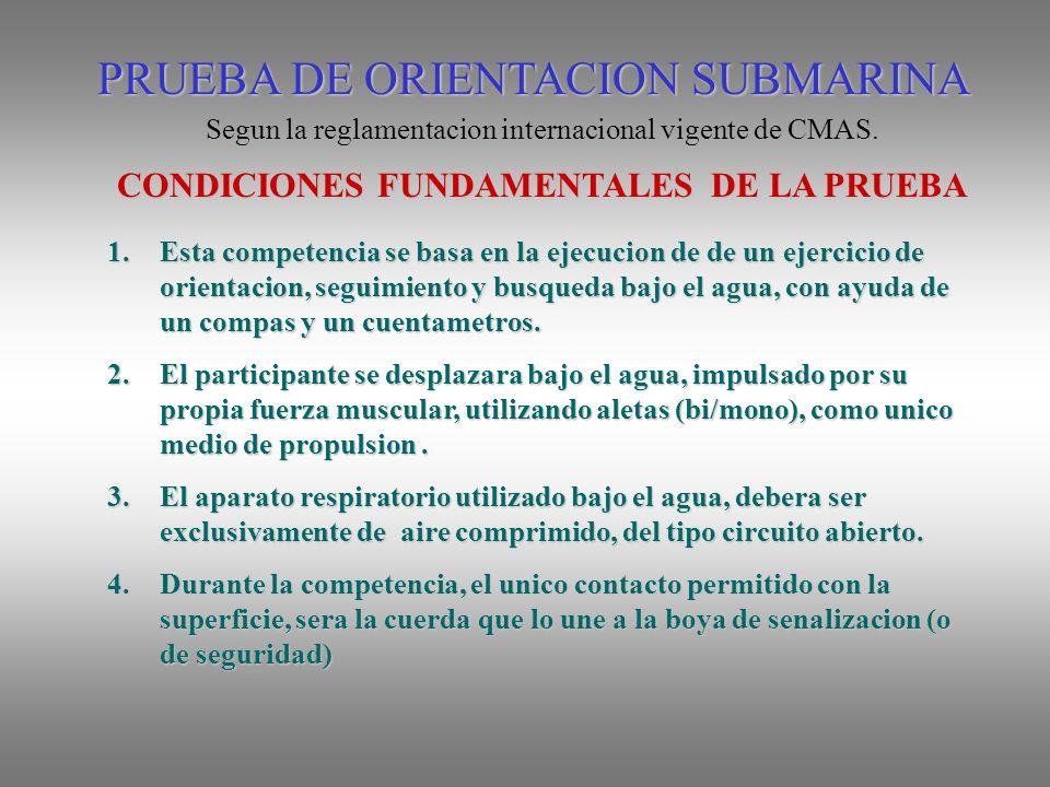 PRUEBA DE ORIENTACION SUBMARINA Segun la reglamentacion internacional vigente de CMAS.