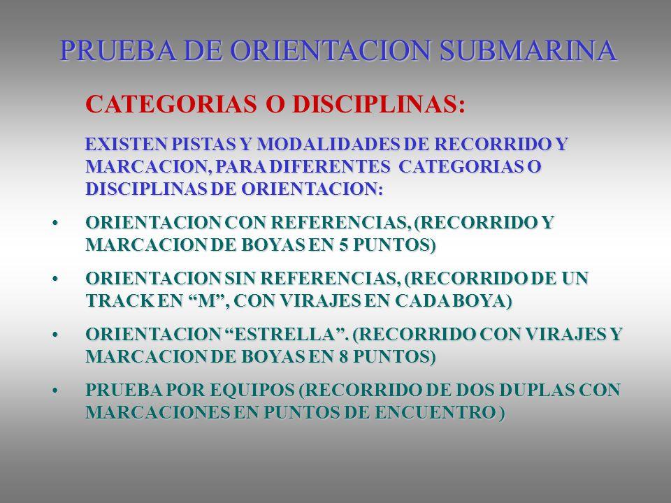 PRUEBA DE ORIENTACION SUBMARINA EXISTEN PISTAS Y MODALIDADES DE RECORRIDO Y MARCACION, PARA DIFERENTES CATEGORIAS O DISCIPLINAS DE ORIENTACION: EXISTEN PISTAS Y MODALIDADES DE RECORRIDO Y MARCACION, PARA DIFERENTES CATEGORIAS O DISCIPLINAS DE ORIENTACION: ORIENTACION CON REFERENCIAS, (RECORRIDO Y MARCACION DE BOYAS EN 5 PUNTOS)ORIENTACION CON REFERENCIAS, (RECORRIDO Y MARCACION DE BOYAS EN 5 PUNTOS) ORIENTACION SIN REFERENCIAS, (RECORRIDO DE UN TRACK EN M, CON VIRAJES EN CADA BOYA)ORIENTACION SIN REFERENCIAS, (RECORRIDO DE UN TRACK EN M, CON VIRAJES EN CADA BOYA) ORIENTACION ESTRELLA.