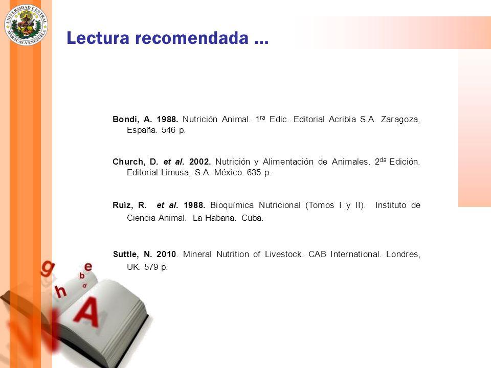 Lectura recomendada … Bondi, A.1988. Nutrición Animal.