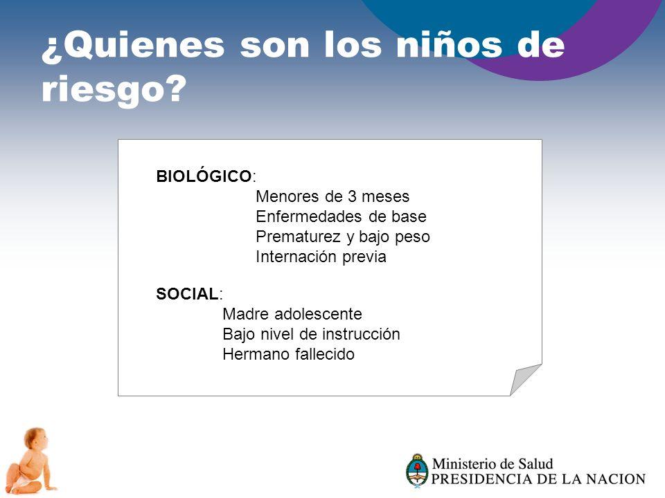 ¿Quienes son los niños de riesgo? BIOLÓGICO: Menores de 3 meses Enfermedades de base Prematurez y bajo peso Internación previa SOCIAL: Madre adolescen