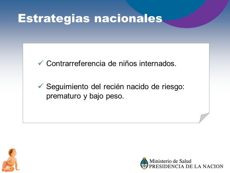 Estrategias nacionales Contrarreferencia de niños internados. Seguimiento del recién nacido de riesgo: prematuro y bajo peso.