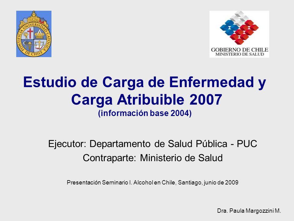 Estudio de Carga de Enfermedad y Carga Atribuible 2007 (información base 2004) Ejecutor: Departamento de Salud Pública - PUC Contraparte: Ministerio d