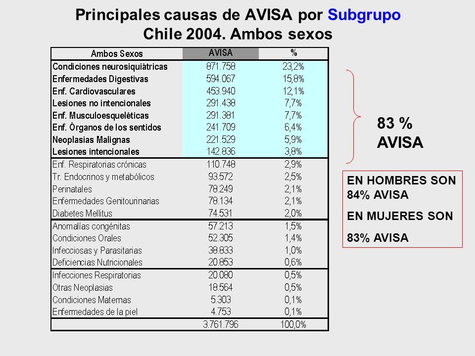 Principales causas de AVISA por Subgrupo Chile 2004. Ambos sexos 83 % AVISA EN HOMBRES SON 84% AVISA EN MUJERES SON 83% AVISA