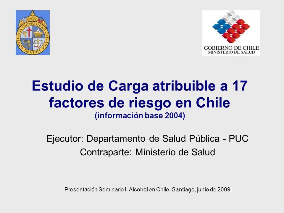 Estudio de Carga atribuible a 17 factores de riesgo en Chile (información base 2004) Ejecutor: Departamento de Salud Pública - PUC Contraparte: Minist