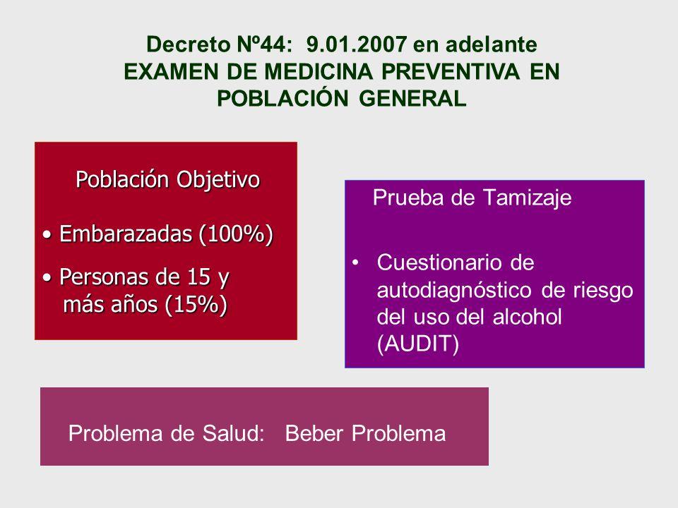Decreto Nº44: 9.01.2007 en adelante EXAMEN DE MEDICINA PREVENTIVA EN POBLACIÓN GENERAL Problema de Salud: Beber Problema Prueba de Tamizaje Cuestionar