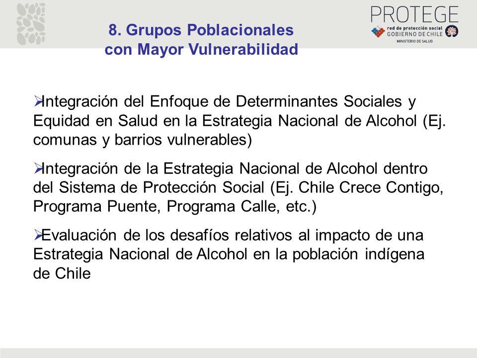 8. Grupos Poblacionales con Mayor Vulnerabilidad Integración del Enfoque de Determinantes Sociales y Equidad en Salud en la Estrategia Nacional de Alc