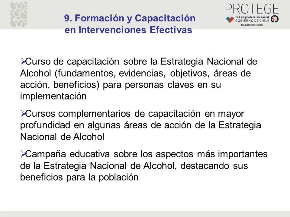 9. Formación y Capacitación en Intervenciones Efectivas Curso de capacitación sobre la Estrategia Nacional de Alcohol (fundamentos, evidencias, objeti