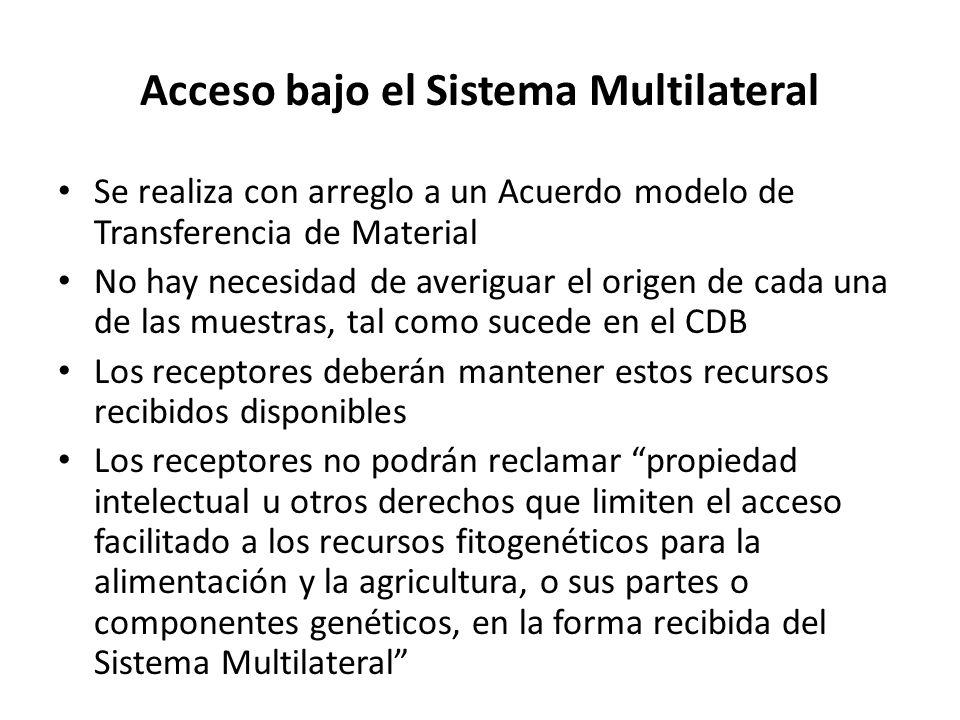 Acceso bajo el Sistema Multilateral Se realiza con arreglo a un Acuerdo modelo de Transferencia de Material No hay necesidad de averiguar el origen de