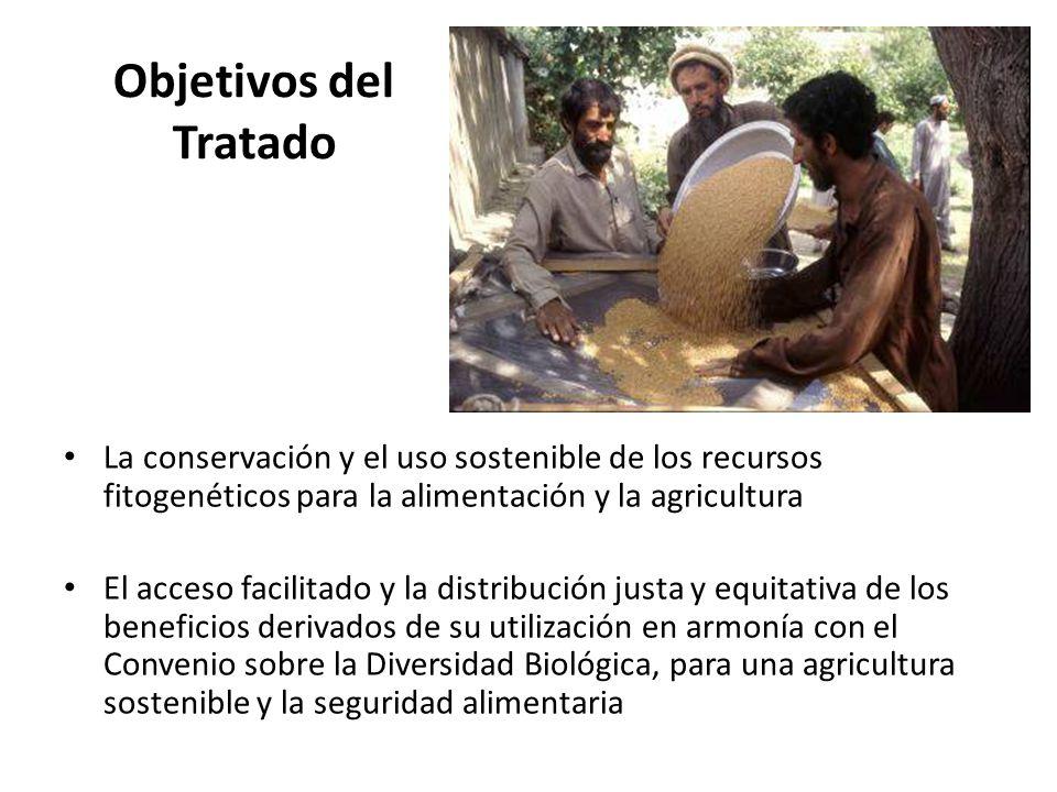 Objetivos del Tratado La conservación y el uso sostenible de los recursos fitogenéticos para la alimentación y la agricultura El acceso facilitado y l
