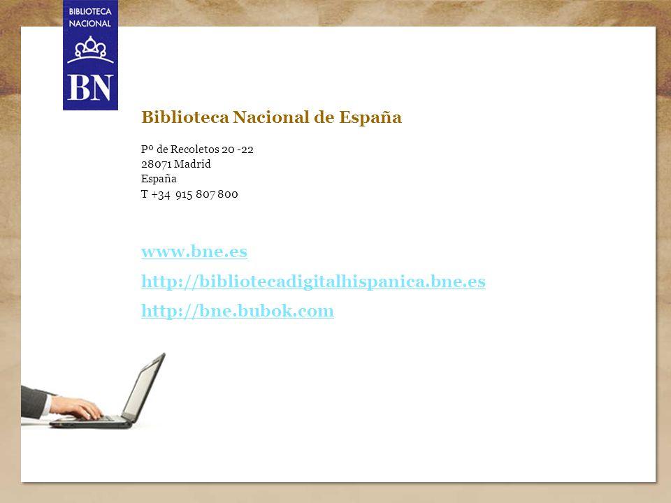 Título de la presentación 15 Biblioteca Nacional de España Pº de Recoletos 20 -22 28071 Madrid España T +34 915 807 800 www.bne.es http://bibliotecadi