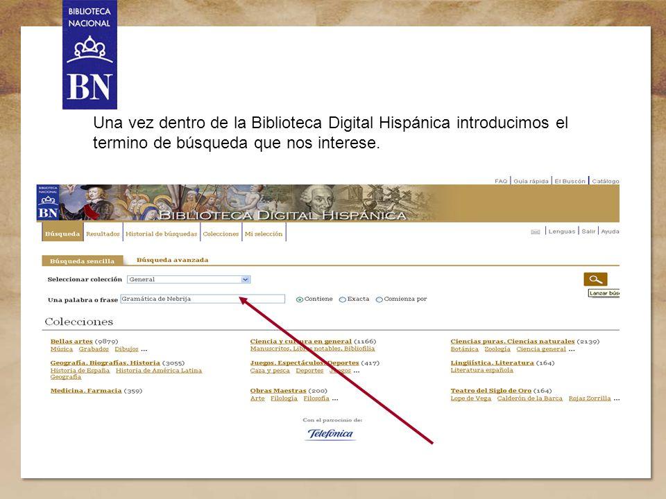 4 Una vez dentro de la Biblioteca Digital Hispánica introducimos el termino de búsqueda que nos interese.