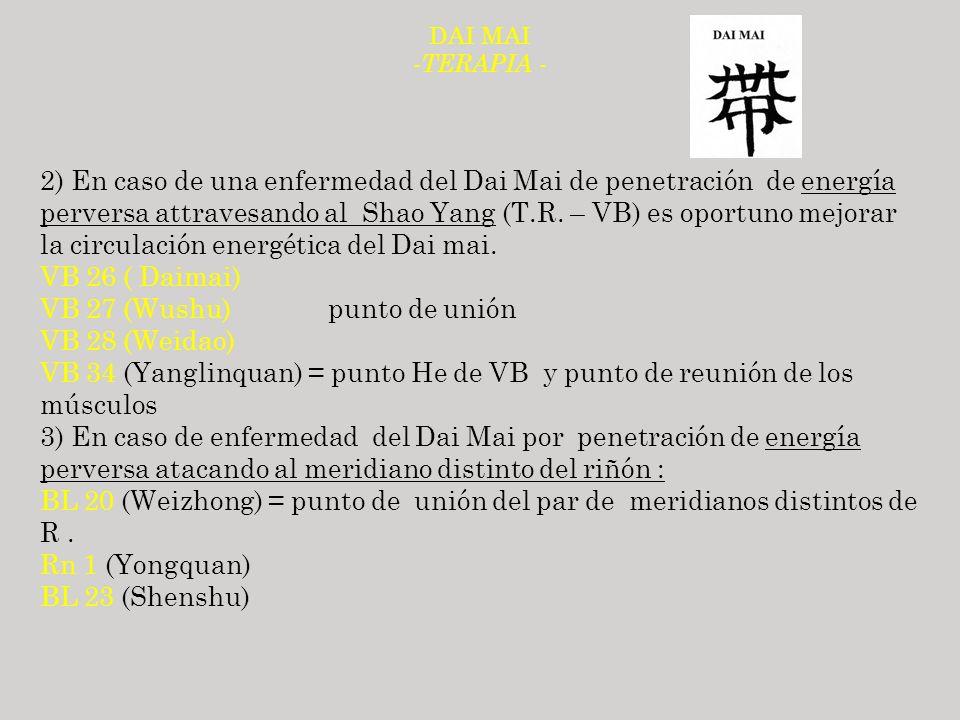 DAI MAI - TERAPIA - 2) En caso de una enfermedad del Dai Mai de penetración de energía perversa attravesando al Shao Yang (T.R. – VB) es oportuno mejo