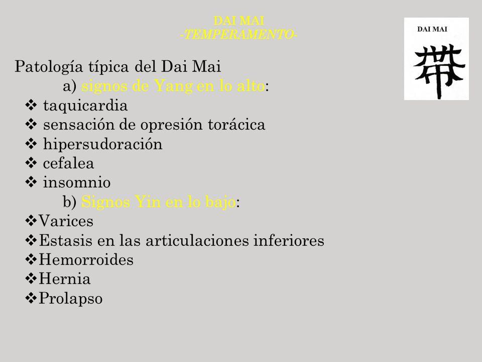 DAI MAI - TEMPERAMENTO- Patología típica del Dai Mai a) signos de Yang en lo alto: taquicardia sensación de opresión torácica hipersudoración cefalea