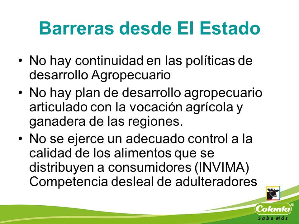 Barreras desde El Estado No hay continuidad en las políticas de desarrollo Agropecuario No hay plan de desarrollo agropecuario articulado con la vocac