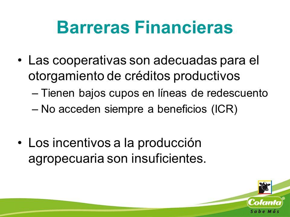 Barreras Financieras Las cooperativas son adecuadas para el otorgamiento de créditos productivos –Tienen bajos cupos en líneas de redescuento –No acce