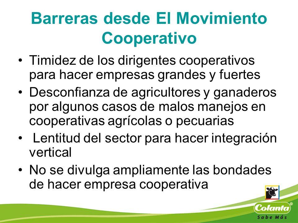 Barreras desde El Movimiento Cooperativo Timidez de los dirigentes cooperativos para hacer empresas grandes y fuertes Desconfianza de agricultores y g