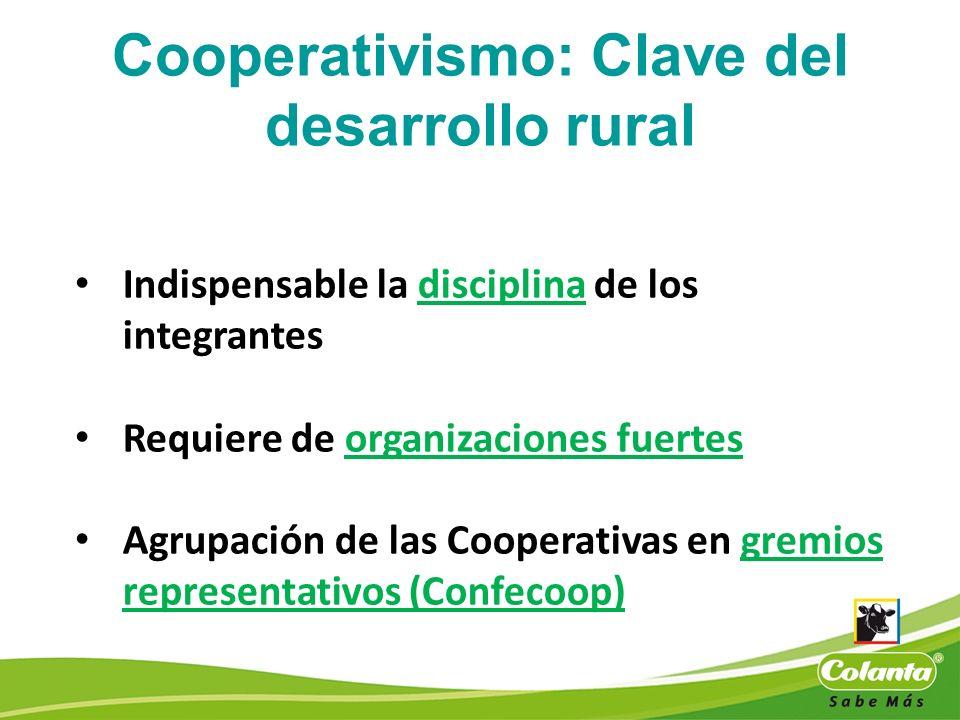 Indispensable la disciplina de los integrantes Requiere de organizaciones fuertes Agrupación de las Cooperativas en gremios representativos (Confecoop
