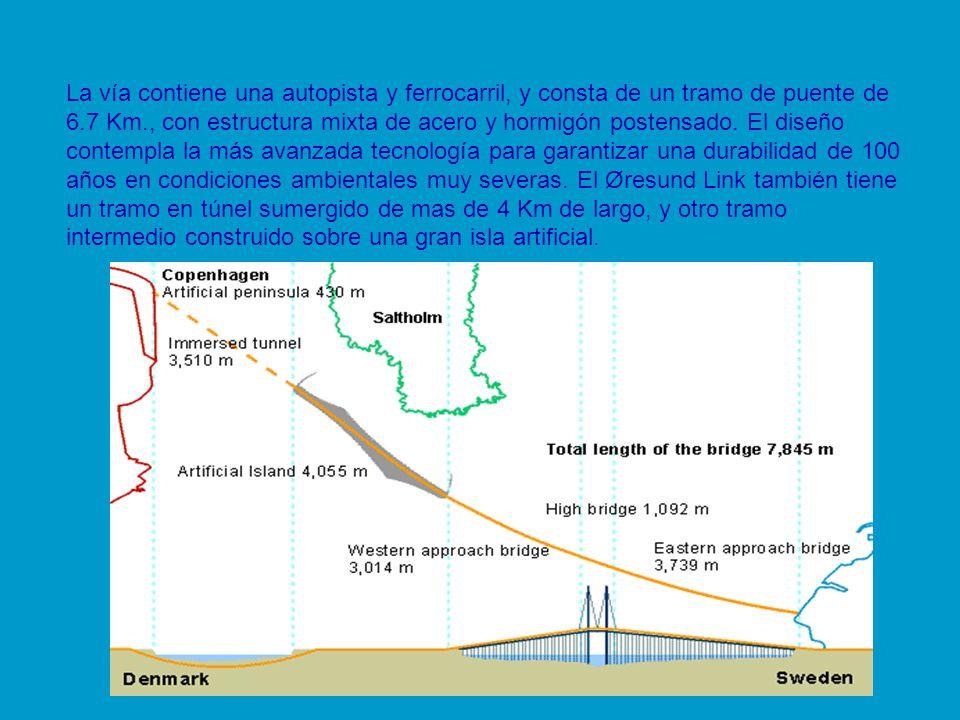 La vía contiene una autopista y ferrocarril, y consta de un tramo de puente de 6.7 Km., con estructura mixta de acero y hormigón postensado. El diseño
