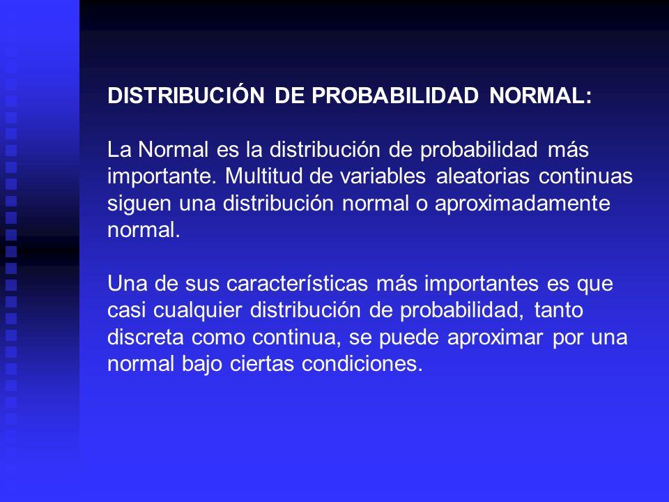 La distribución de probabilidad normal y la curva normal que la representa, tienen las siguientes características: La curva normal tiene forma de campana y un solo pico en el centro de la distribución.