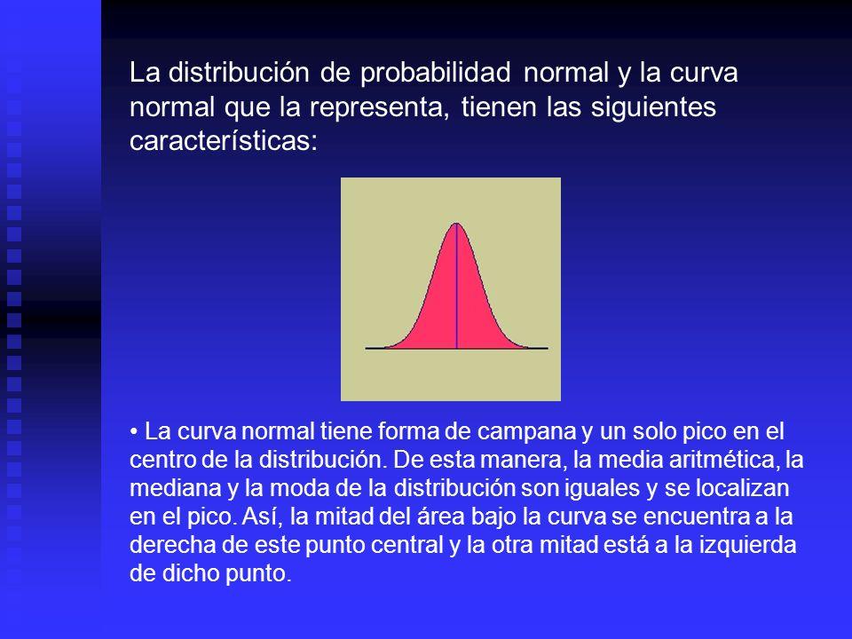 La distribución de probabilidad normal y la curva normal que la representa, tienen las siguientes características: La distribución de probabilidad normal es simétrica alrededor de su media.
