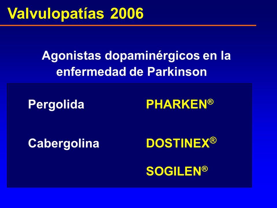 Valvulopatías 2006 Agonistas dopaminérgicos en la enfermedad de Parkinson Pergolida PHARKEN ® CabergolinaDOSTINEX ® SOGILEN ®
