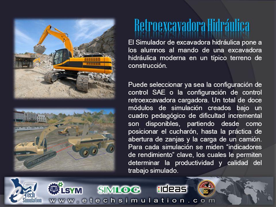 El Simulador de excavadora hidráulica pone a los alumnos al mando de una excavadora hidráulica moderna en un típico terreno de construcción.