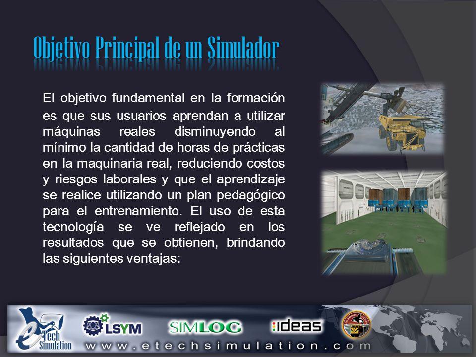 El Simulador de cargador de ruedas pone a los alumnos al mando de un cargador de ruedas con capacidad nominal de 21.8 toneladas métricas, operando junto con un camión de obras en una cantera virtual.
