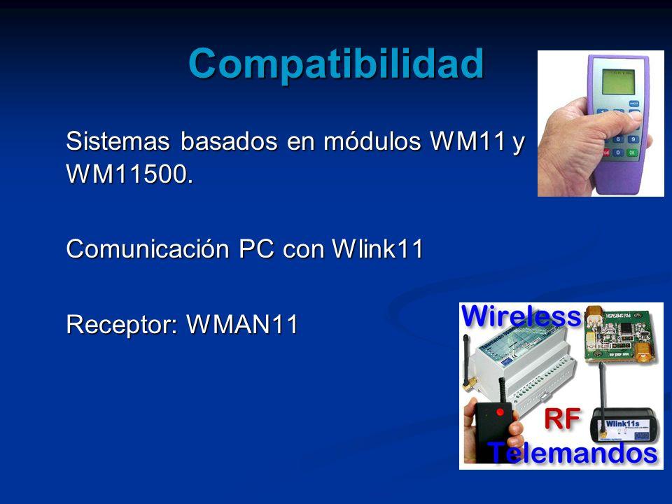 Compatibilidad Sistemas basados en módulos WM11 y WM11500. Comunicación PC con Wlink11 Receptor: WMAN11