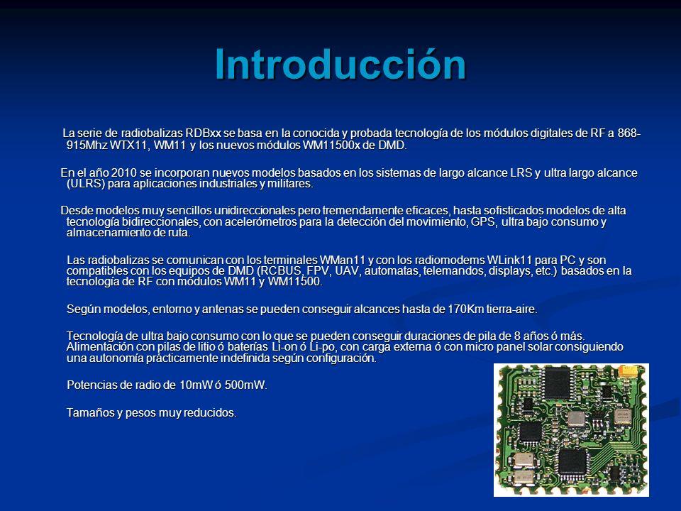 Introducción La serie de radiobalizas RDBxx se basa en la conocida y probada tecnología de los módulos digitales de RF a 868- 915Mhz WTX11, WM11 y los