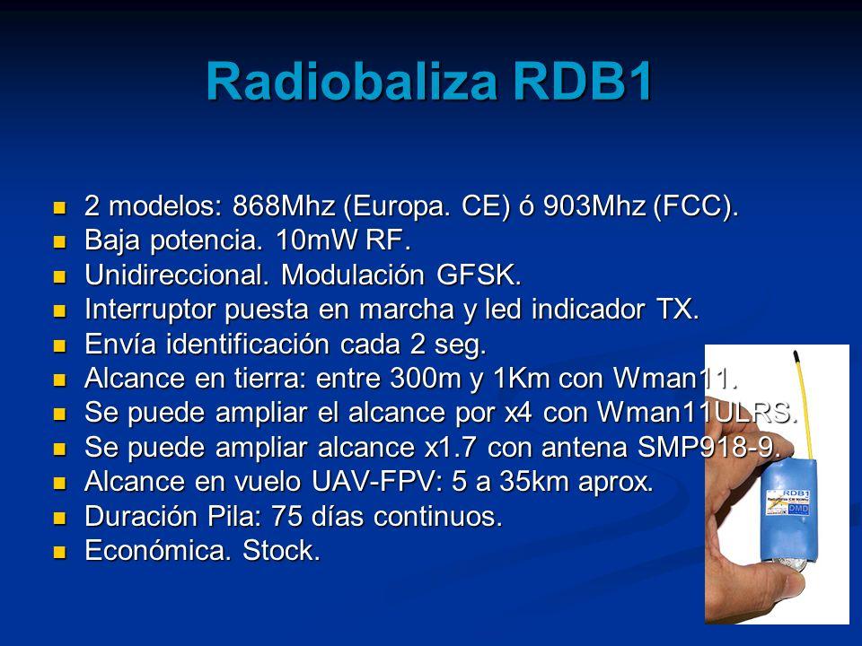 Radiobaliza RDB1 2 modelos: 868Mhz (Europa. CE) ó 903Mhz (FCC). 2 modelos: 868Mhz (Europa. CE) ó 903Mhz (FCC). Baja potencia. 10mW RF. Baja potencia.