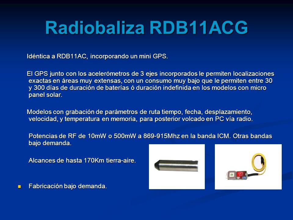 Radiobaliza RDB11ACG Idéntica a RDB11AC, incorporando un mini GPS. Idéntica a RDB11AC, incorporando un mini GPS. El GPS junto con los acelerómetros de