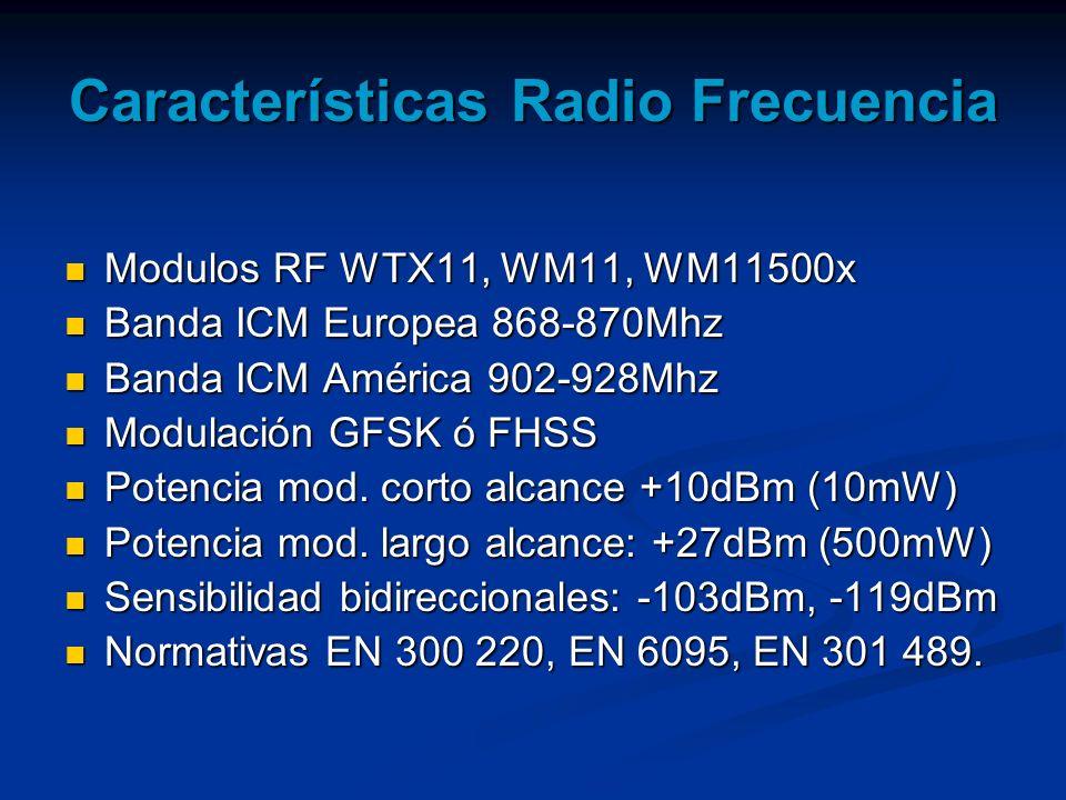 Características Radio Frecuencia Modulos RF WTX11, WM11, WM11500x Modulos RF WTX11, WM11, WM11500x Banda ICM Europea 868-870Mhz Banda ICM Europea 868-