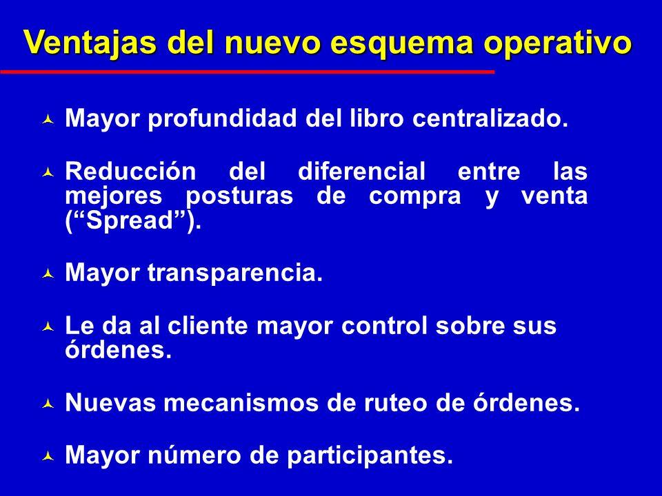 Ventajas del nuevo esquema operativo © Mayor profundidad del libro centralizado.