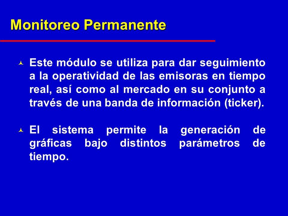 Monitoreo Permanente © Este módulo se utiliza para dar seguimiento a la operatividad de las emisoras en tiempo real, así como al mercado en su conjunto a través de una banda de información (ticker).