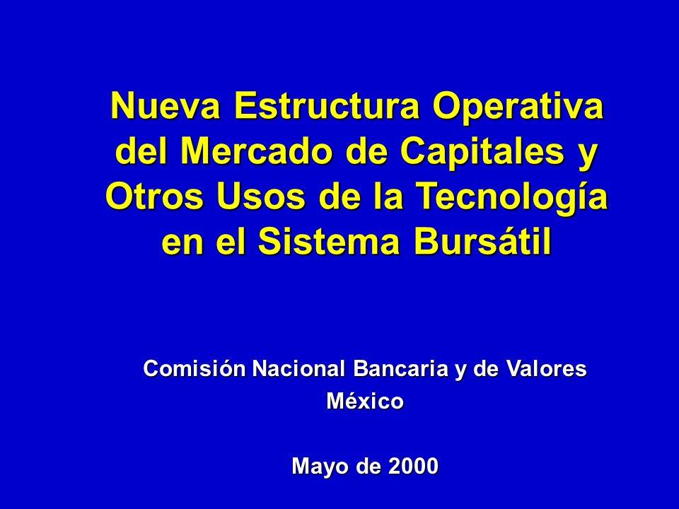 Comisión Nacional Bancaria y de Valores México Mayo de 2000 Nueva Estructura Operativa del Mercado de Capitales y Otros Usos de la Tecnología en el Sistema Bursátil