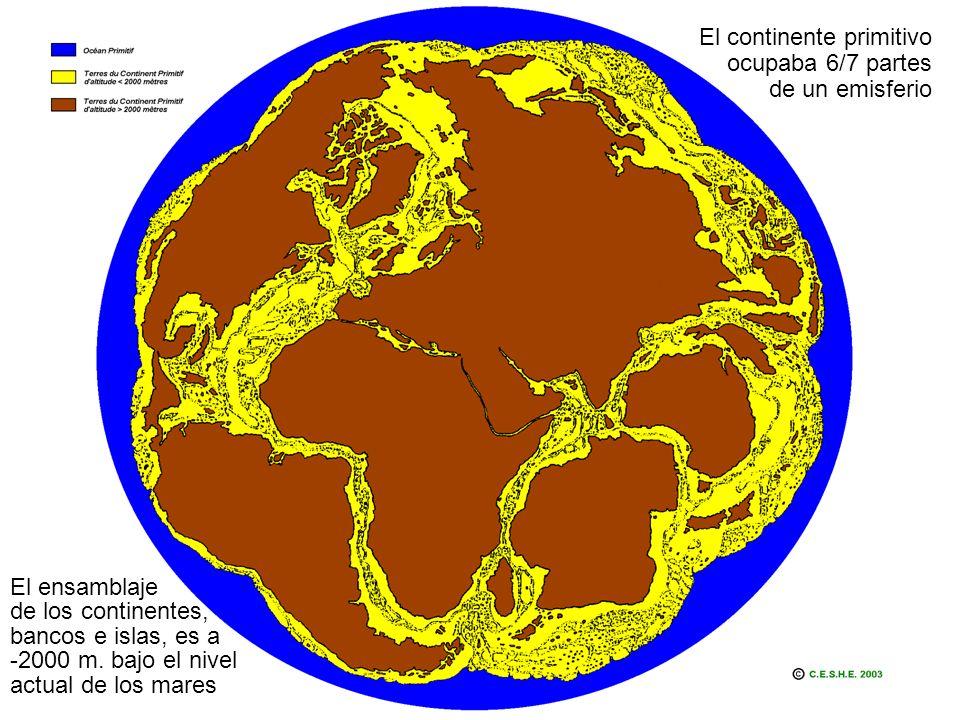 El continente primitivo ocupaba 6/7 partes de un emisferio El ensamblaje de los continentes, bancos e islas, es a -2000 m.