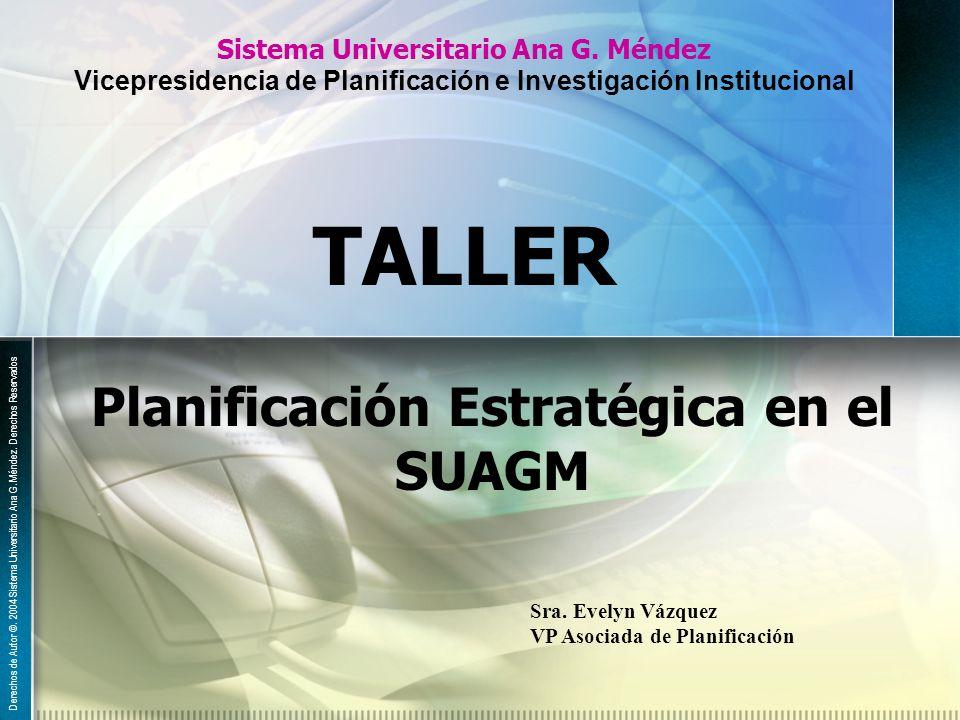 Sistema Universitario Ana G. Méndez Vicepresidencia de Planificación e Investigación Institucional Planificación Estratégica en el SUAGM TALLER Derech