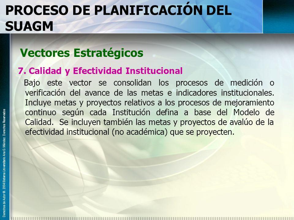 PROCESO DE PLANIFICACIÓN DEL SUAGM Vectores Estratégicos 7. Calidad y Efectividad Institucional Bajo este vector se consolidan los procesos de medició