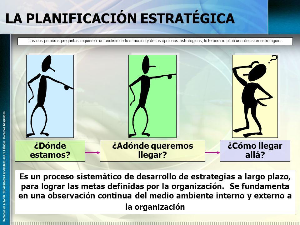 LA PLANIFICACIÓN ESTRATÉGICA Derechos de Autor ©. 2004 Sistema Universitario Ana G. Méndez. Derechos Reservados Es un proceso sistemático de desarroll