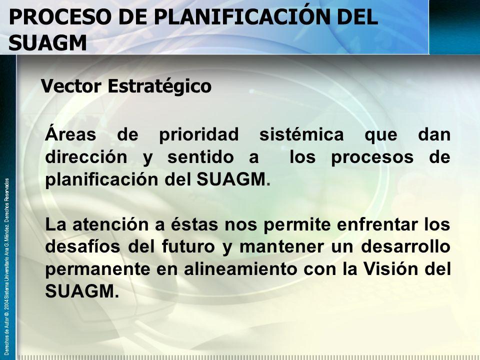 PROCESO DE PLANIFICACIÓN DEL SUAGM Derechos de Autor ©. 2004 Sistema Universitario Ana G. Méndez. Derechos Reservados Vector Estratégico Áreas de prio