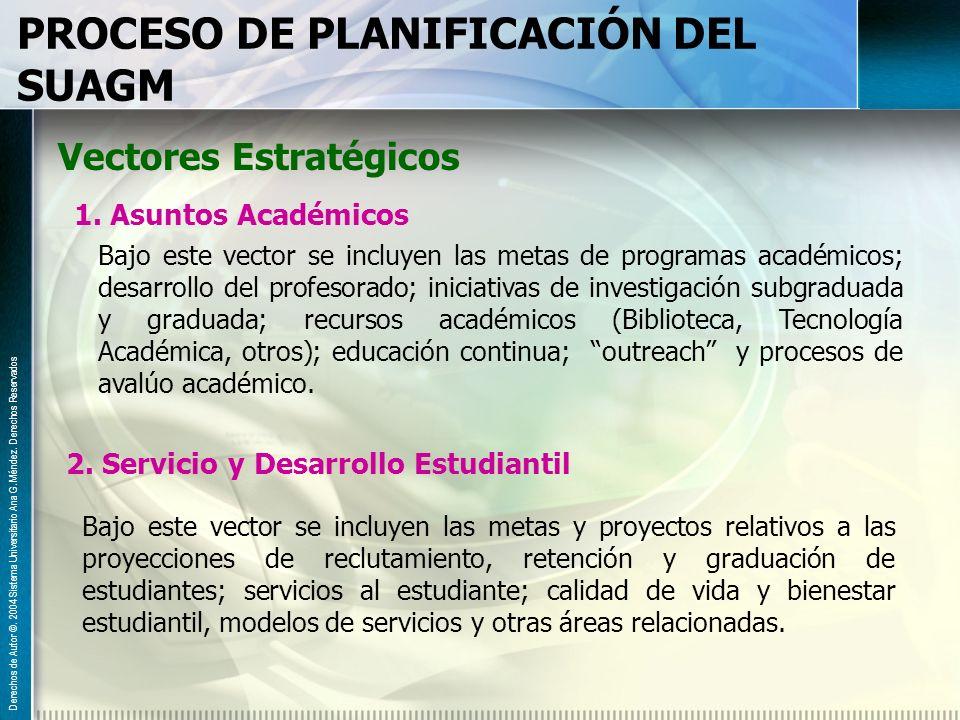 PROCESO DE PLANIFICACIÓN DEL SUAGM Vectores Estratégicos 1. Asuntos Académicos Bajo este vector se incluyen las metas de programas académicos; desarro