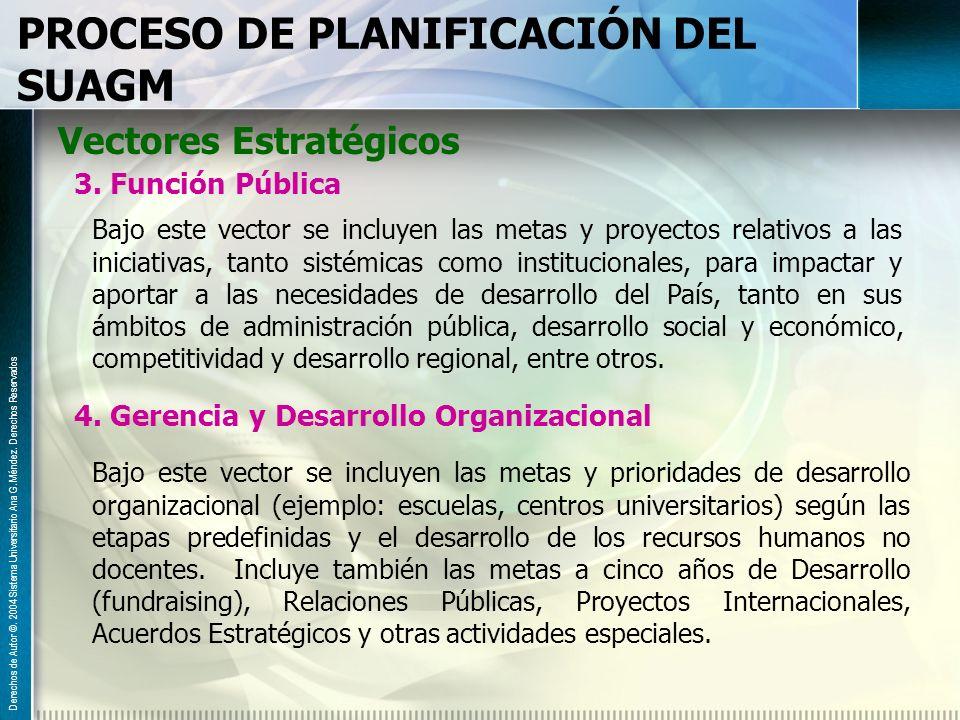 PROCESO DE PLANIFICACIÓN DEL SUAGM Vectores Estratégicos 3. Función Pública Bajo este vector se incluyen las metas y proyectos relativos a las iniciat
