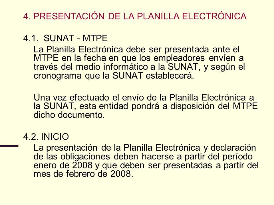 4. PRESENTACIÓN DE LA PLANILLA ELECTRÓNICA 4.1. SUNAT - MTPE La Planilla Electrónica debe ser presentada ante el MTPE en la fecha en que los empleador
