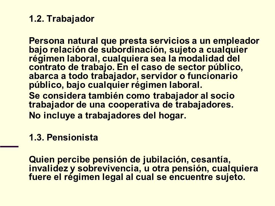 1.2. Trabajador Persona natural que presta servicios a un empleador bajo relación de subordinación, sujeto a cualquier régimen laboral, cualquiera sea