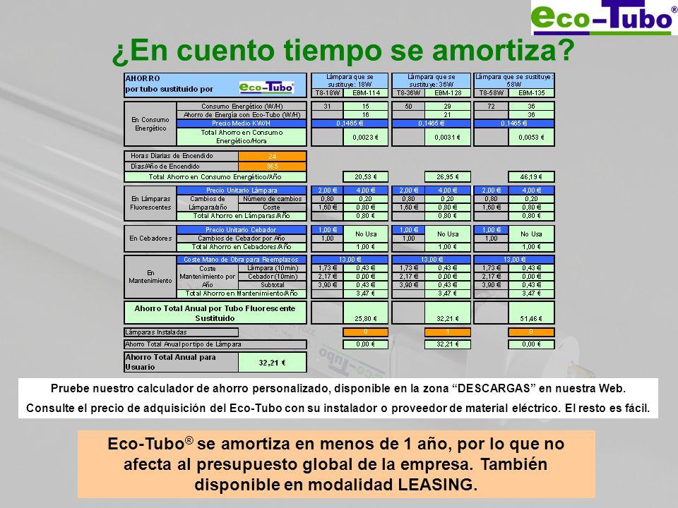 ¿En cuento tiempo se amortiza? Eco-Tubo ® se amortiza en menos de 1 año, por lo que no afecta al presupuesto global de la empresa. También disponible