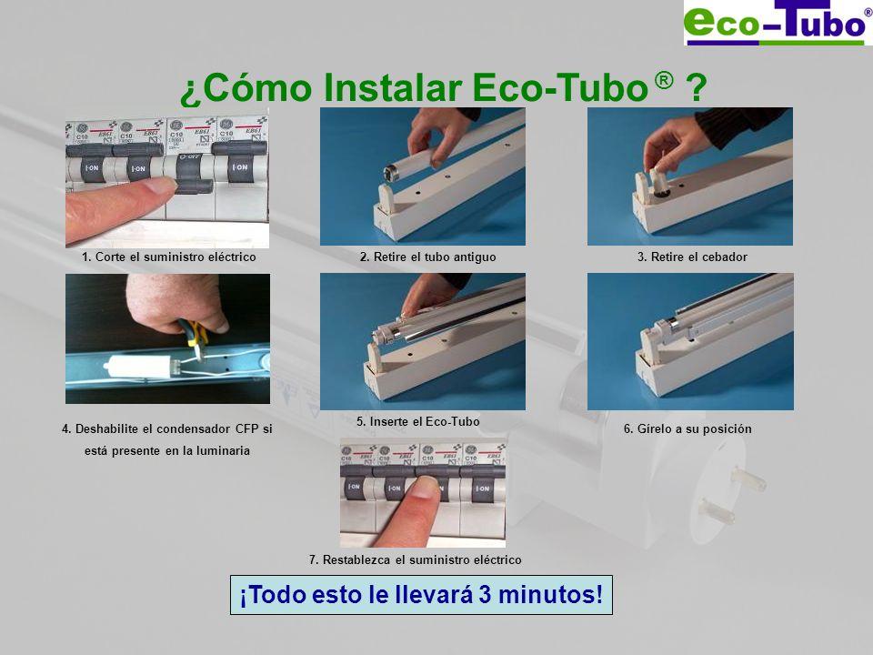 ¿Cómo Instalar Eco-Tubo ® ? 1. Corte el suministro eléctrico2. Retire el tubo antiguo3. Retire el cebador 5. Inserte el Eco-Tubo 6. Gírelo a su posici