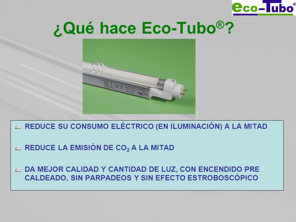 ¿Qué hace Eco-Tubo ® ? REDUCE SU CONSUMO ELÉCTRICO (EN ILUMINACIÓN) A LA MITAD REDUCE LA EMISIÓN DE CO 2 A LA MITAD DA MEJOR CALIDAD Y CANTIDAD DE LUZ