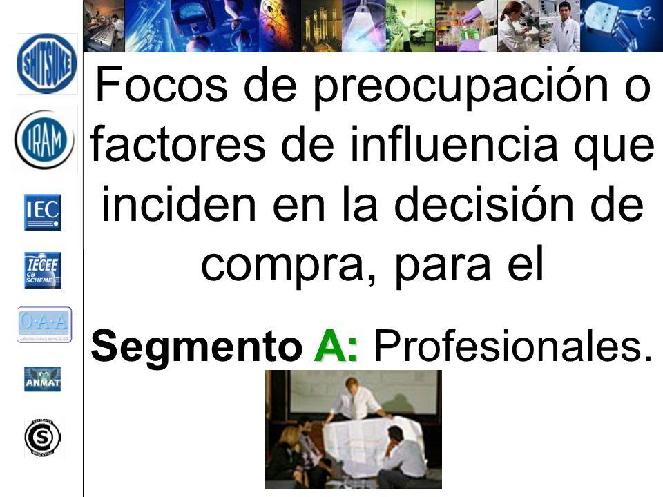 Focos de preocupación o factores de influencia que inciden en la decisión de compra, para el A: Segmento A: Profesionales.