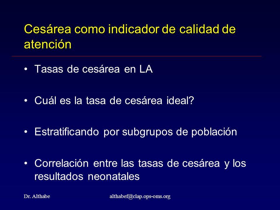 Dr. Althabealthabef@clap.ops-oms.org Cesárea como indicador de calidad de atención Tasas de cesárea en LA Cuál es la tasa de cesárea ideal? Estratific